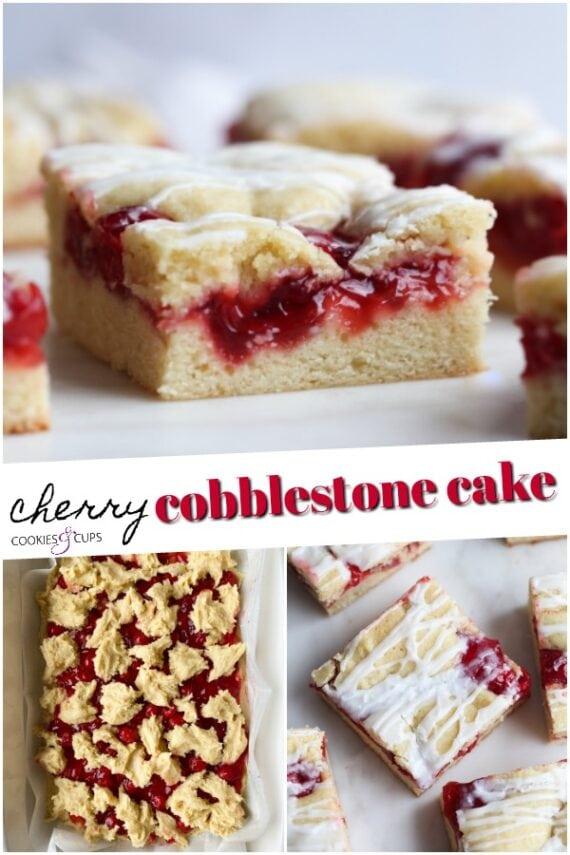 Cherry Cobblestone Cake Pinterest Image