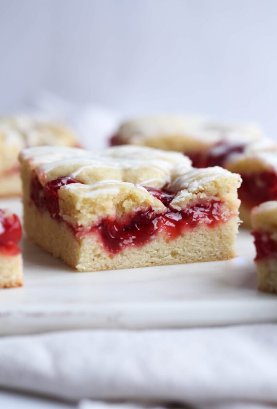 Cherry Cobblestone Cake on a white plate