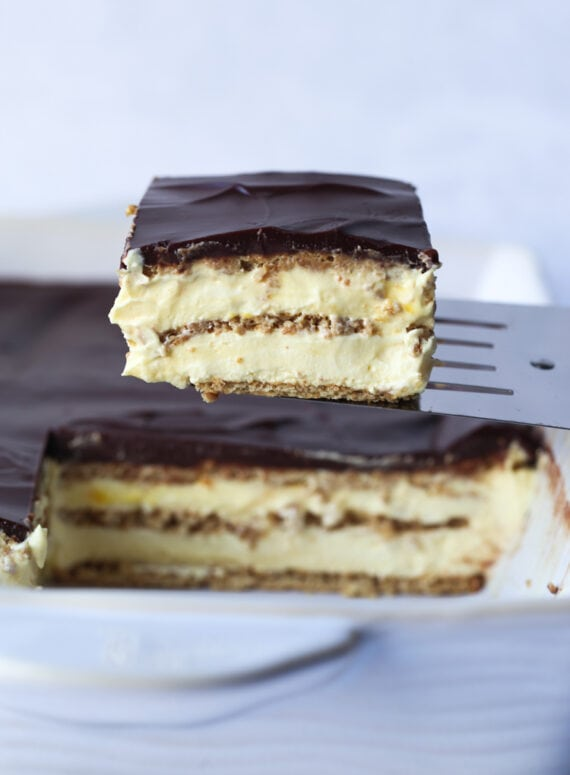 No Bake Eclair Cake Slice on a Spatula