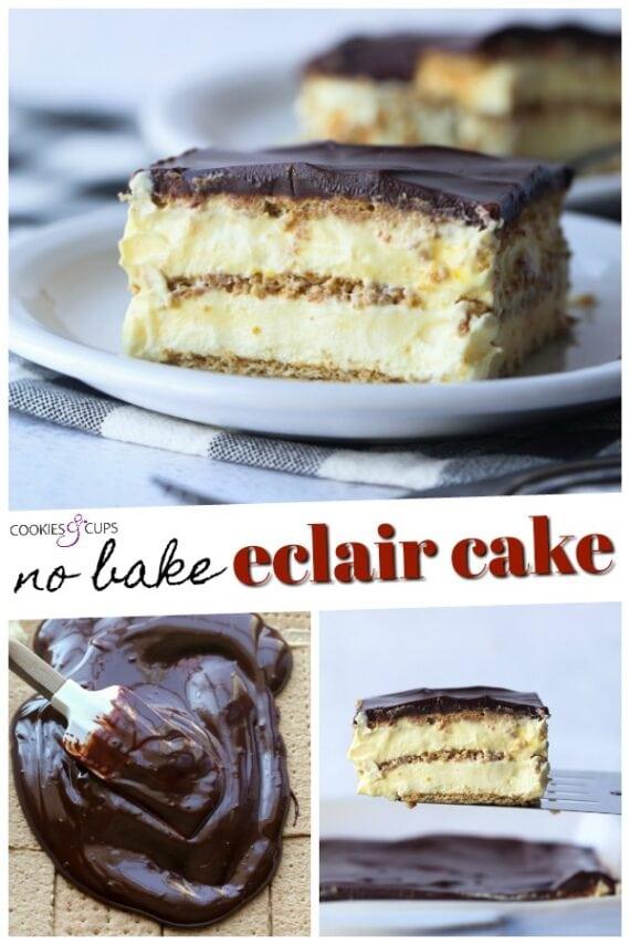 No Bake Eclair Cake Pinterest Image