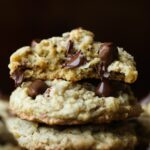 Lactation Cookies stacked with chocolate chips