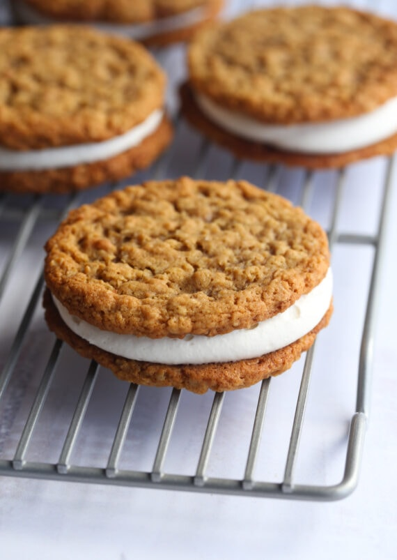 Oatmeal Sandwich Cookies filled with marshmallow buttercream