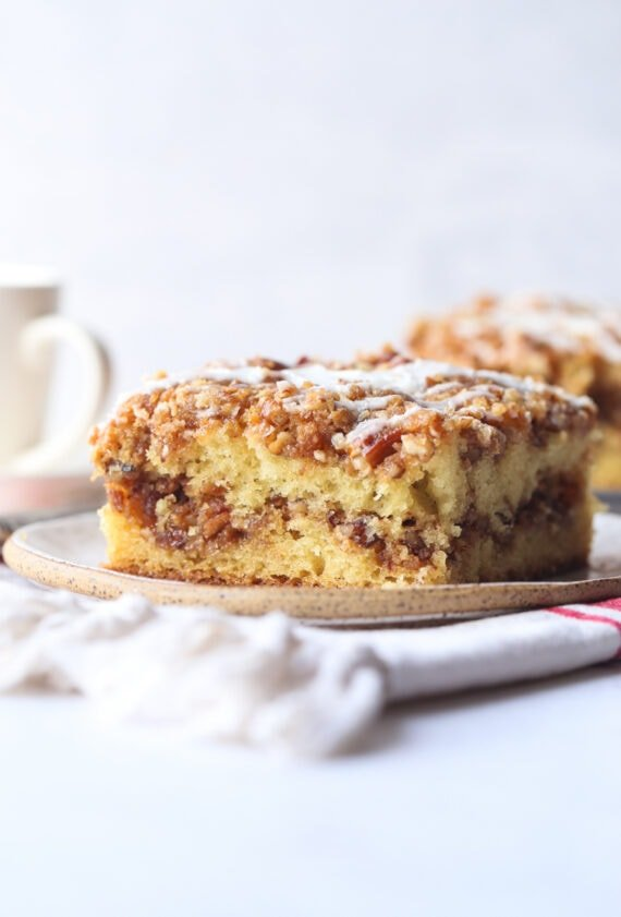 Pecan Sour Cream Coffee Cake on a plate