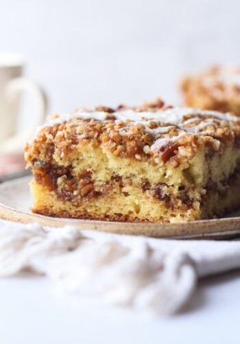 Slice of Pecan Coffee Cake with icing