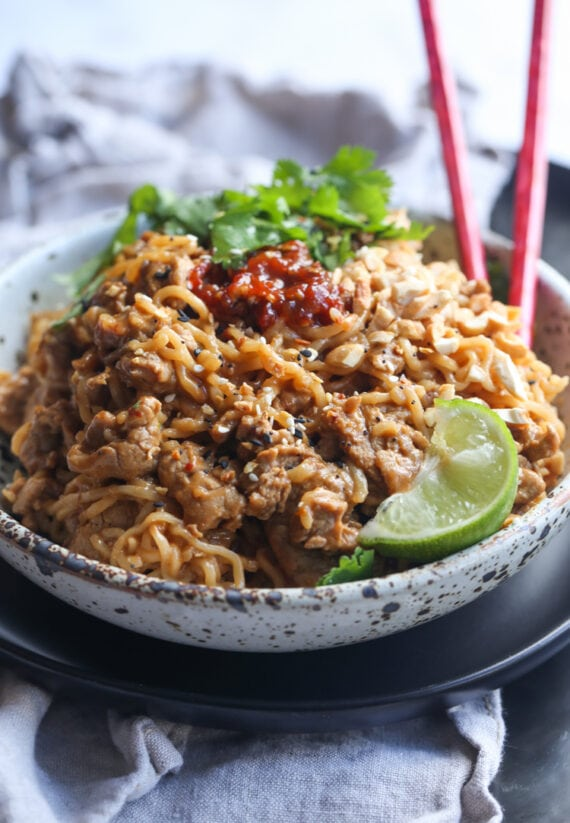 Pork Ramen in a bowl with chili paste on top
