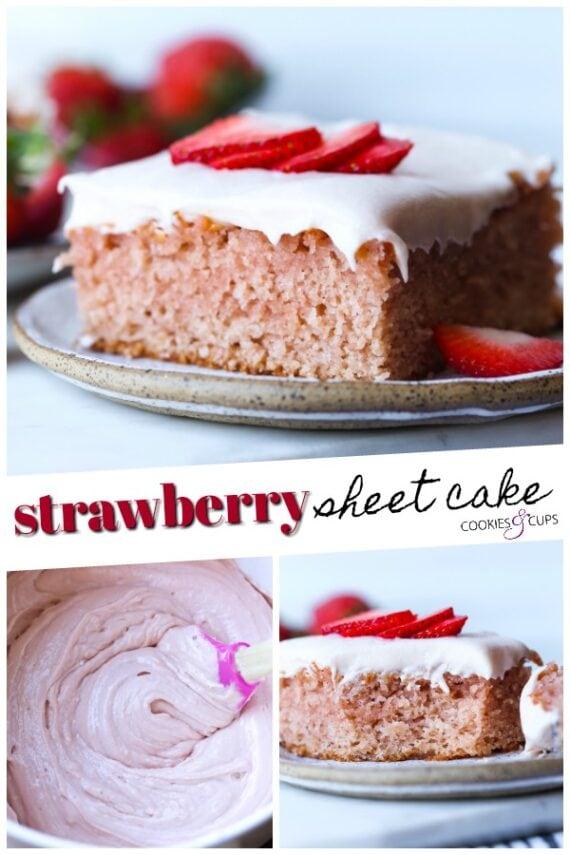 Strawberry Sheet Cake Pinterest Image