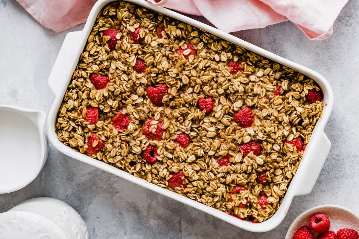 Raspberry baked oatmeal in a pan.