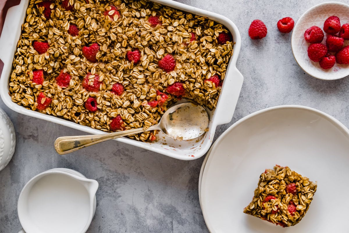Plate of baked oatmeal.