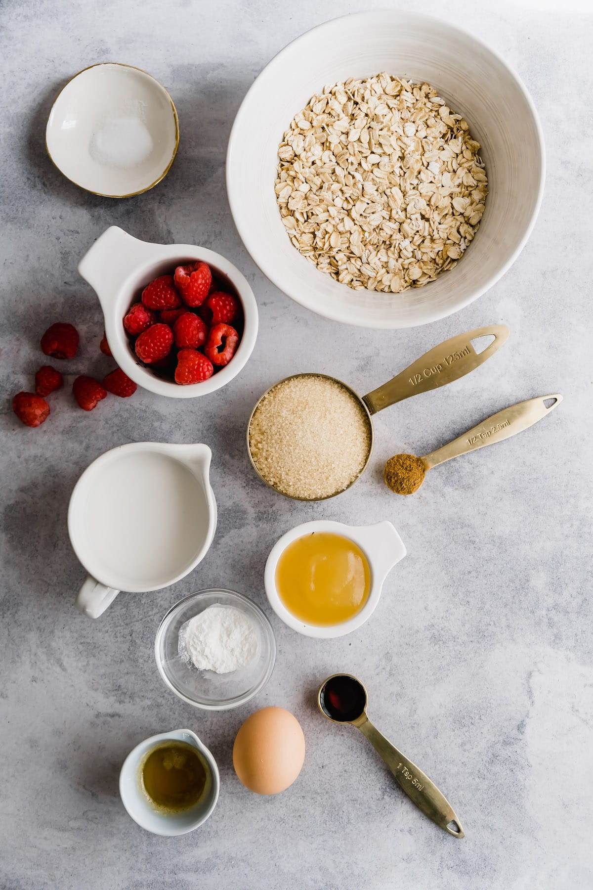 Ingredients for raspberry baked oatmeal.