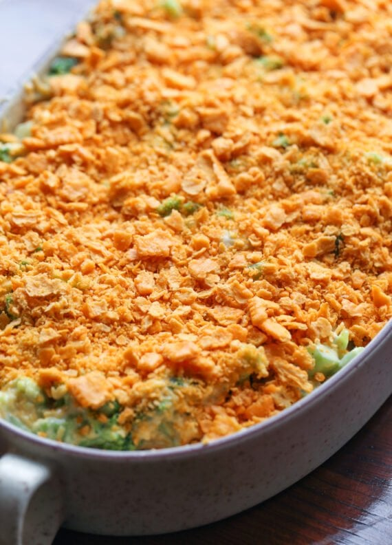 Broccoli and cheese casserole with crushed cheese crackers on top