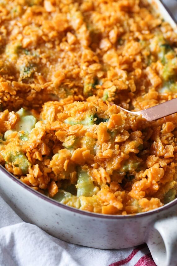 Broccoli Cheese Casserole in a baking dish
