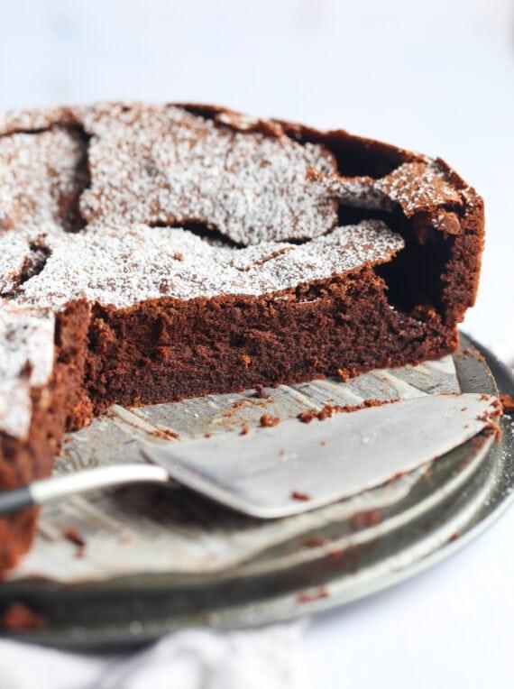 Chocolate Cake sliced on a springform pan