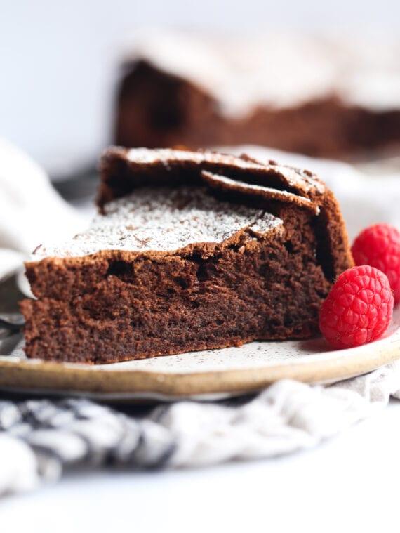 Flourless Chocolate Cake Slice on a plate