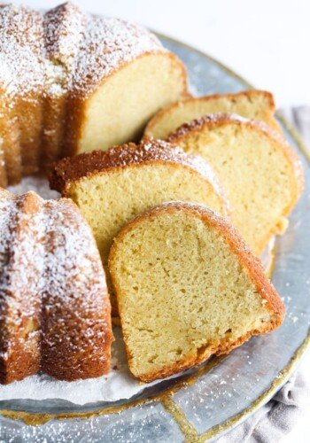 Sour Cream Pound Cake Sliced on a Platter