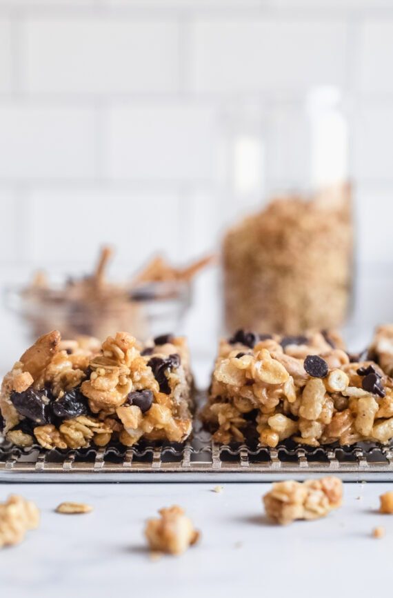 No Bake Granola Bars on a rack