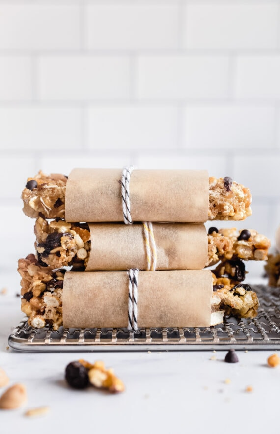 Granola Bars Stacked wrapped in parchment paper