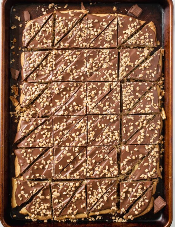 Almond Roca Cookies cut into triangle shapes
