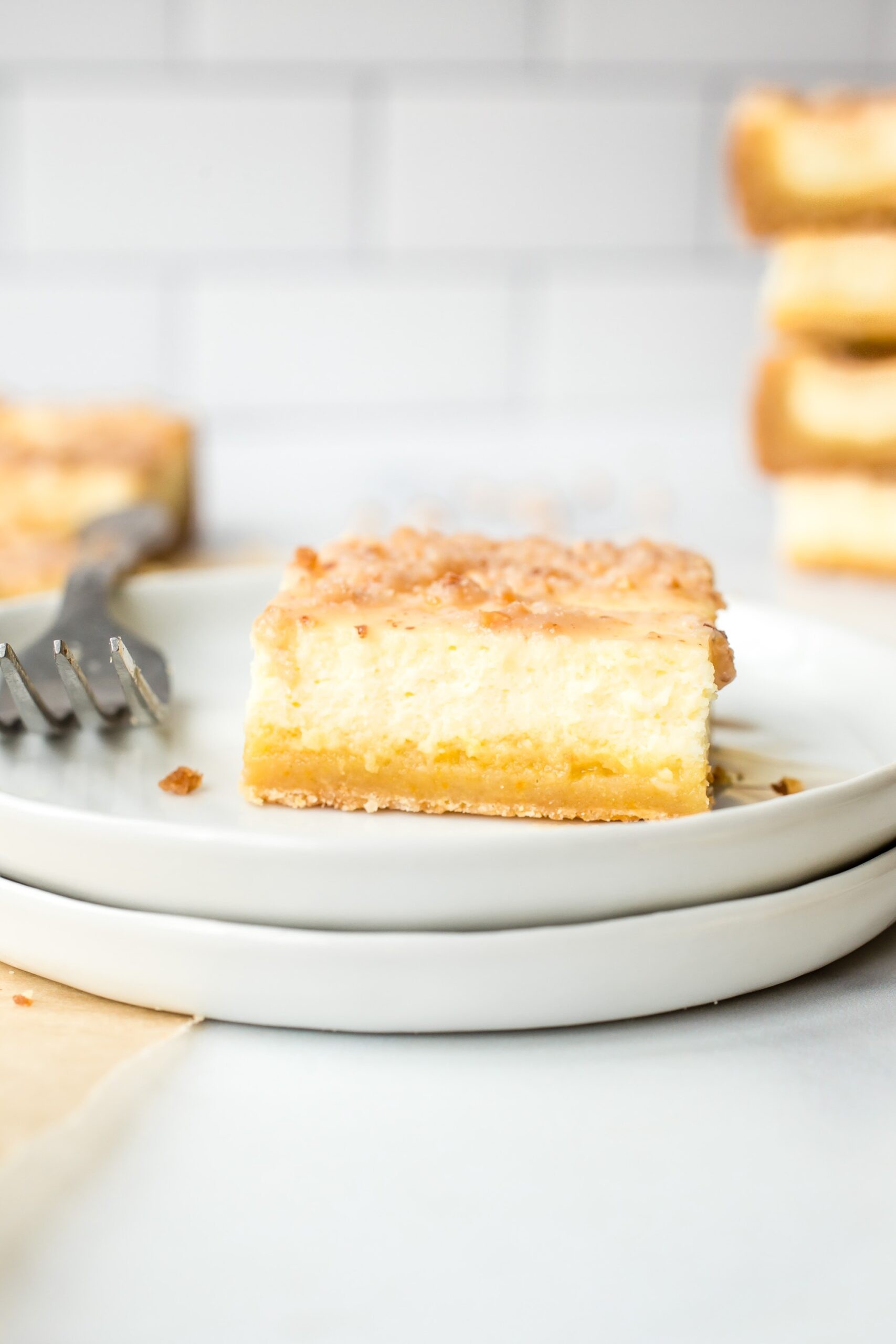 Sugar Cookie Cheesecake bar on a plate