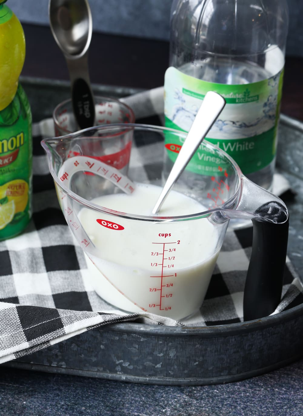 Buttermilk substitute in a measuring cup
