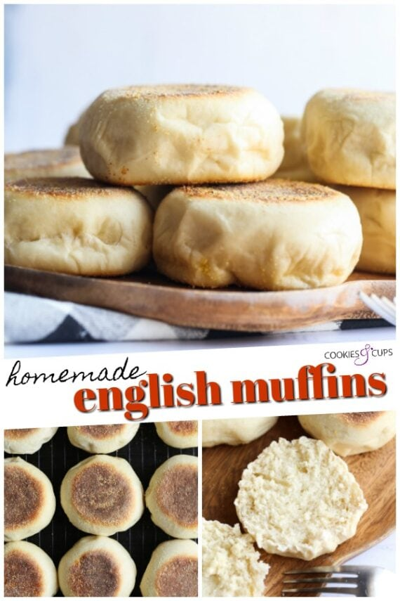 Pinterest image of homemade English muffins