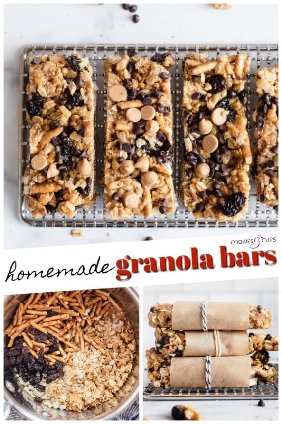 Easy No Bake Homemade Granola Bars Pinterest Image
