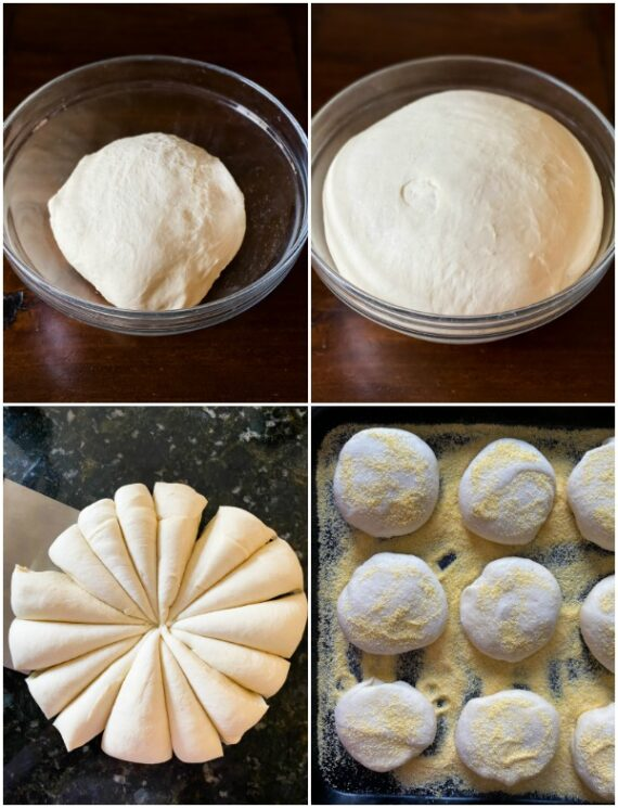 Collage of images showing the steps of preparing English muffin dough