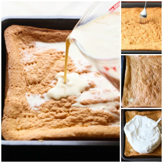A collage of images showing the steps to make Tres Leches Cake