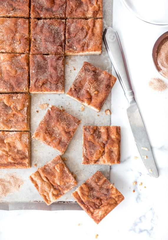 Snickerdoodle Bars cut on a platter
