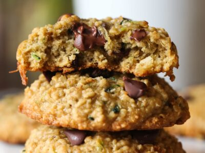 Zucchini Coconut Chocolate Chip Cookies stacked
