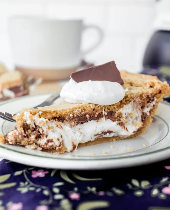 Slice of S'mores Pie on a plate