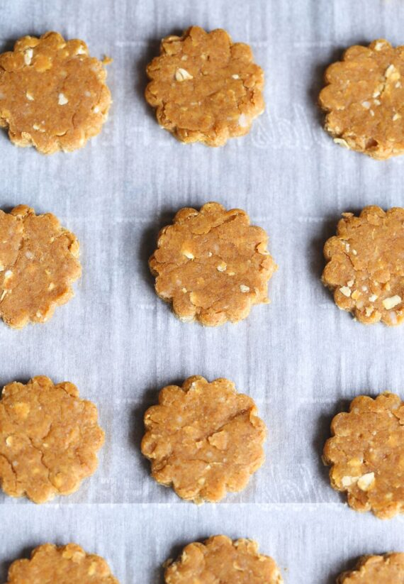 Homemade dog treats cut out and on the <a href=