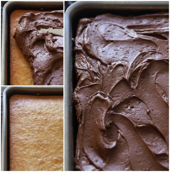 A collage showing the steps to making the perfect cake from cake mix.