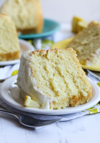 Lemon Chiffon Cake Slice on a plate