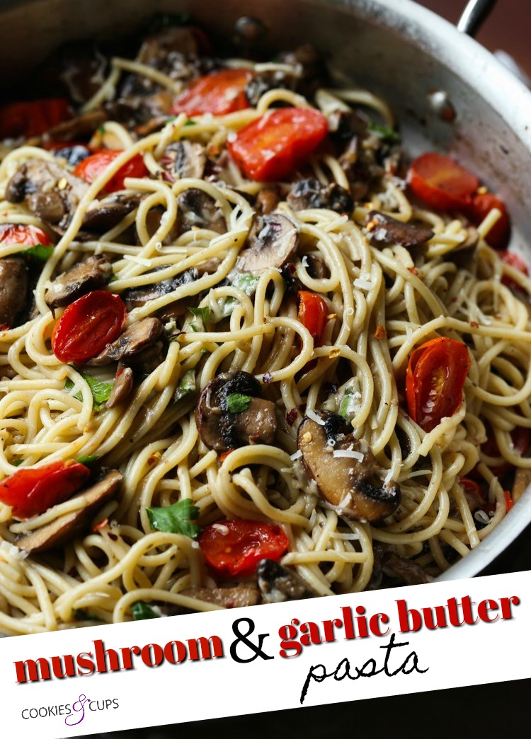 Mushroom and Garlic Butter Pasta Pinterest Image