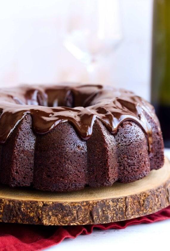 Red Wine Cake with chocolate ganache