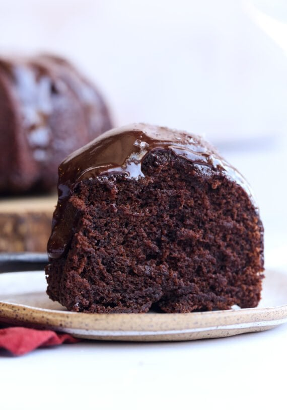 Slice of red wine chocolate cake