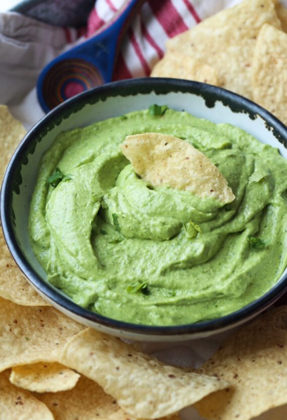 Avocado Dip with a chip