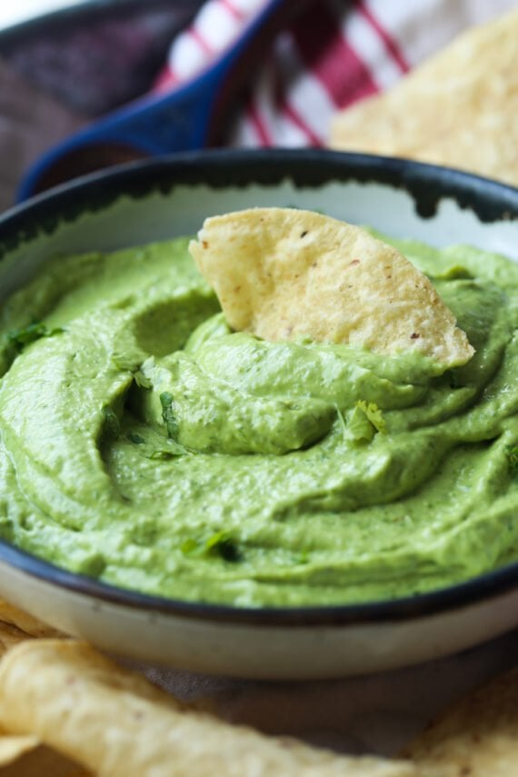 Green sauce made with avocado and cilantro