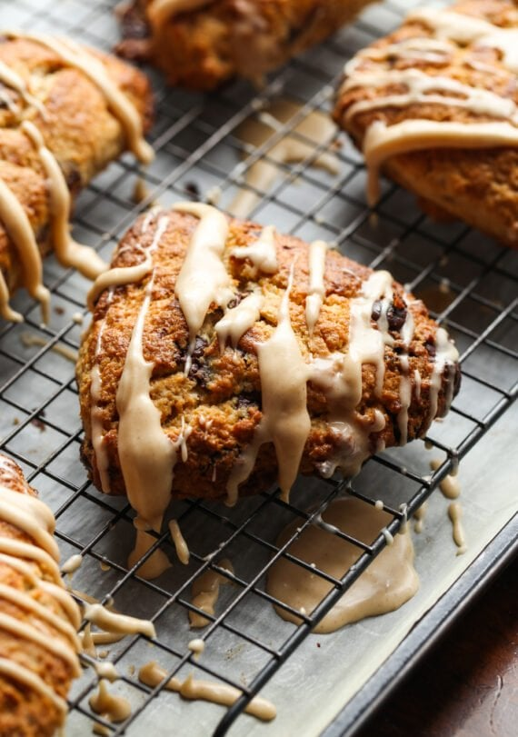 Banana Scone on a cooling rack with icing