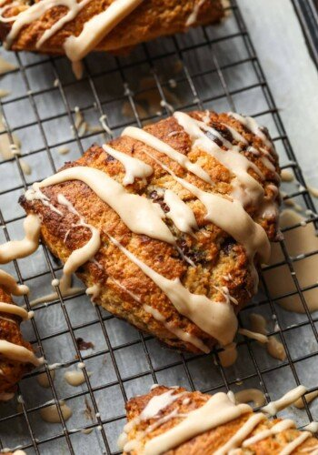 Chocolate Chip Banana Scone with icing drizzled on top