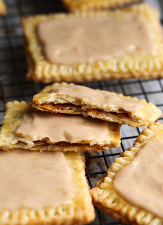 A homemade pop tart broken in half to reveal the brown sugar filling