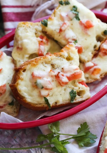 Beach bread or cheesy garlic bread in a basket