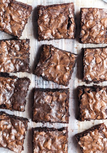 Brownies cut on parchment paper
