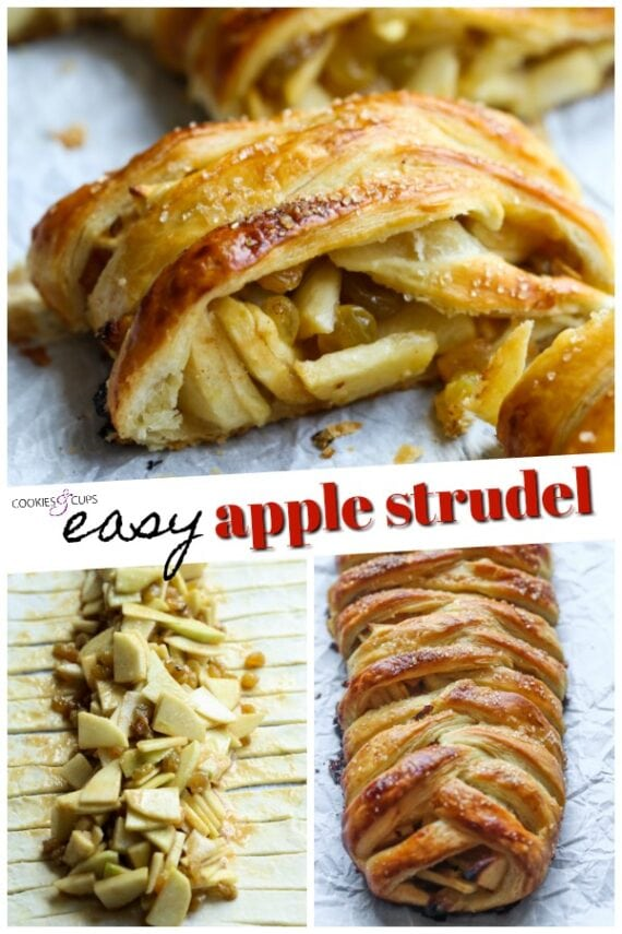 Apple Strudel Before and After Baking