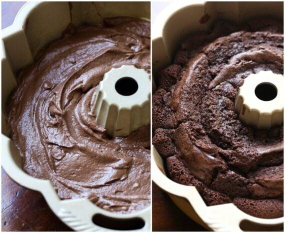 Chocolate Pound Cake Batter vs Finished Cake