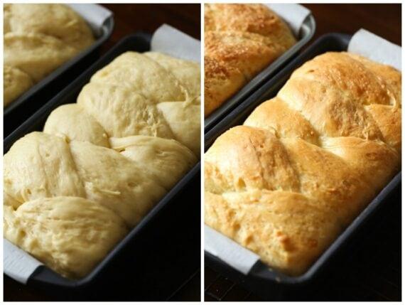 Brioche Bread Side by Side Comparison, Before & After Baking