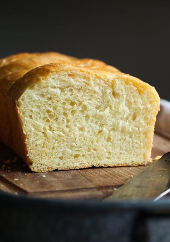 The Fluffy Interior of a Slice of Brioche Bread