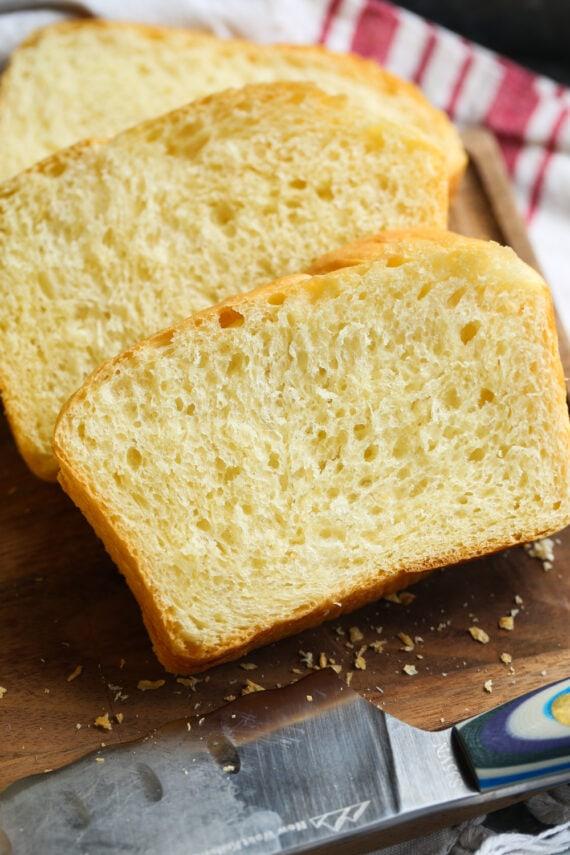 Slices of Brioche Bread on a Cutting Board
