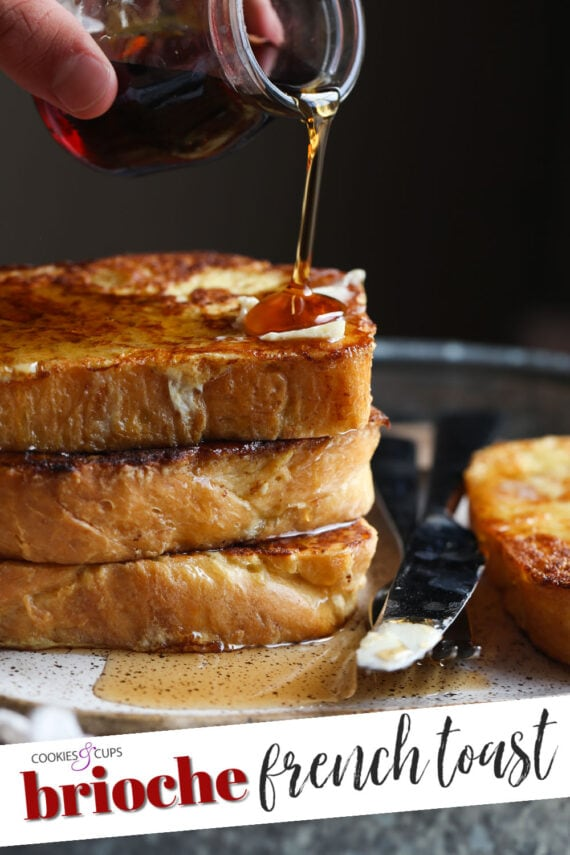 A Pile of French Toast with a Knife, a Fork and Pure Maple Syrup