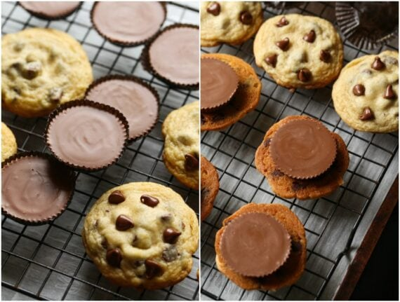 Collage making cookie sandwiches with peanut butter cups